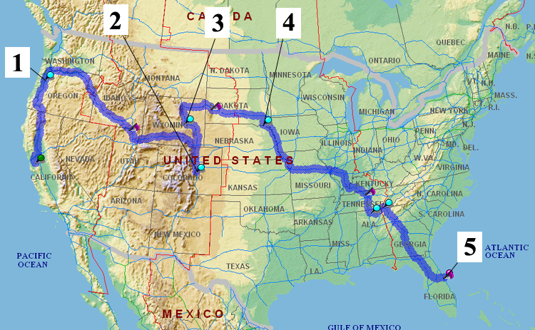 Map of America with our travel route shown
